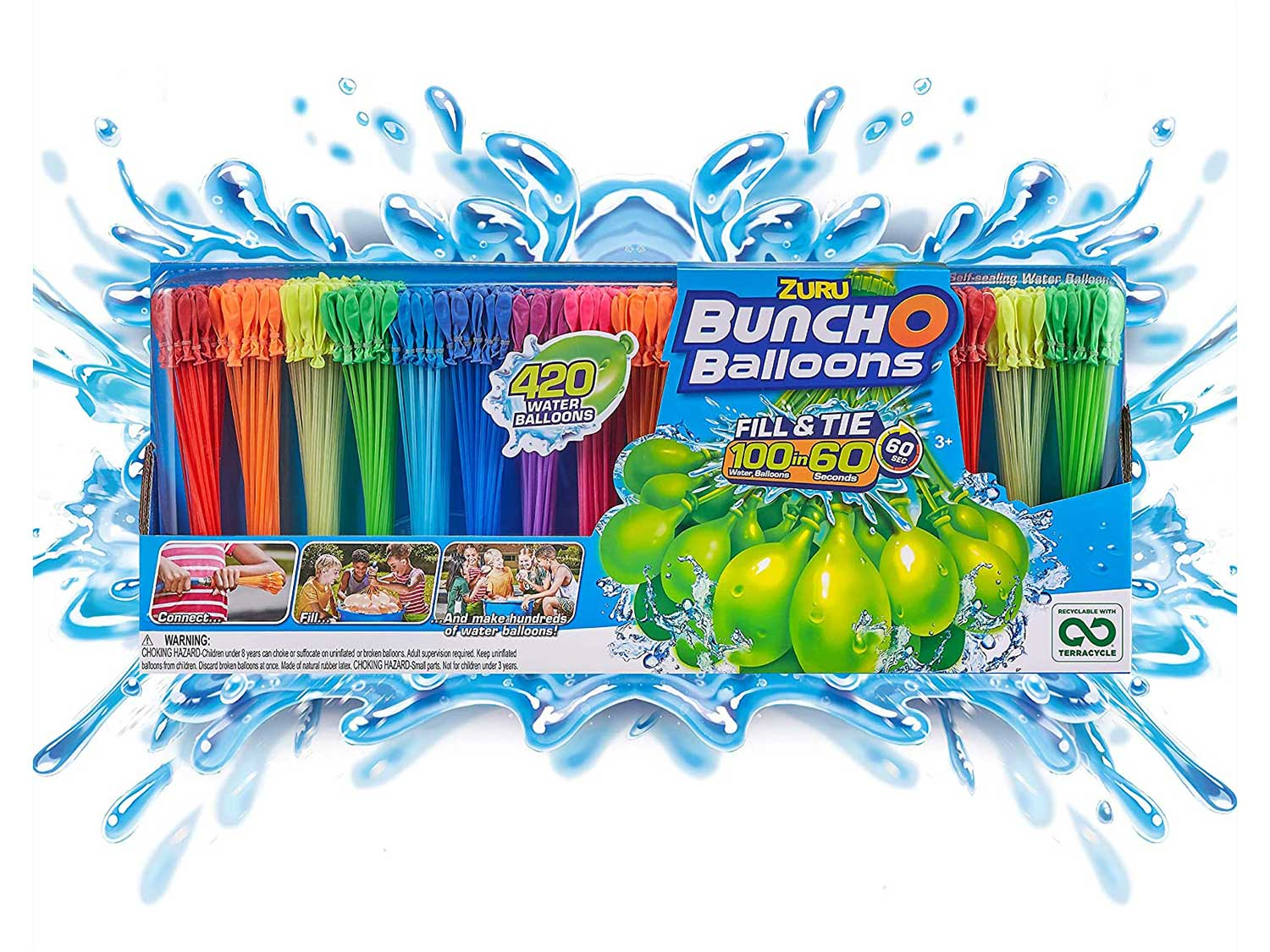 Bunch O Balloons - 420 Rapid-Fill Water Balloons (12 Pack), Multi-Colored