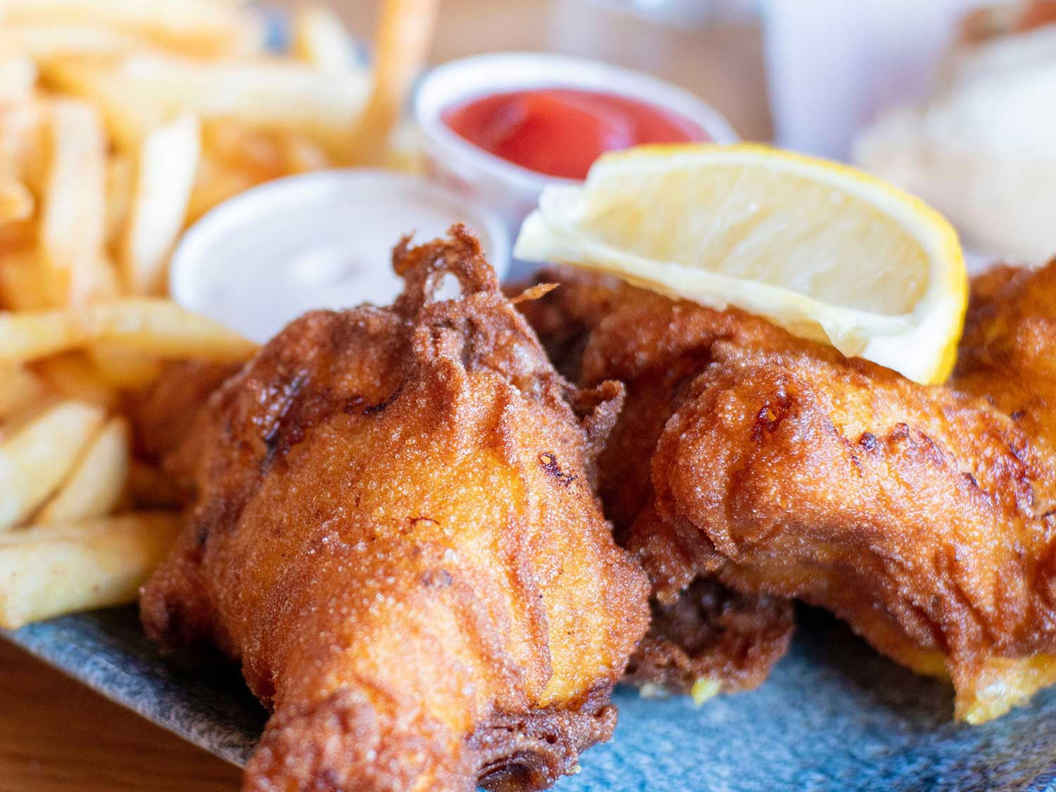 Fried fish and fries.