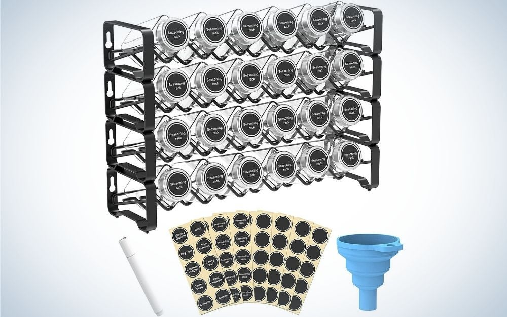 The Auledio 4-Tier Stackable Spice Rack, 24 bottles are the best value.