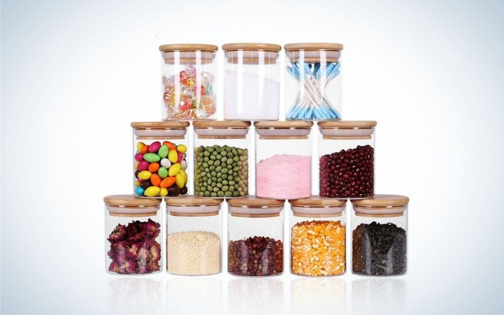 The Tzerotone Glass 12 Jars Set with Airtight Lids and Labels, 6 oz are the best spice jars for measuring spoons.
