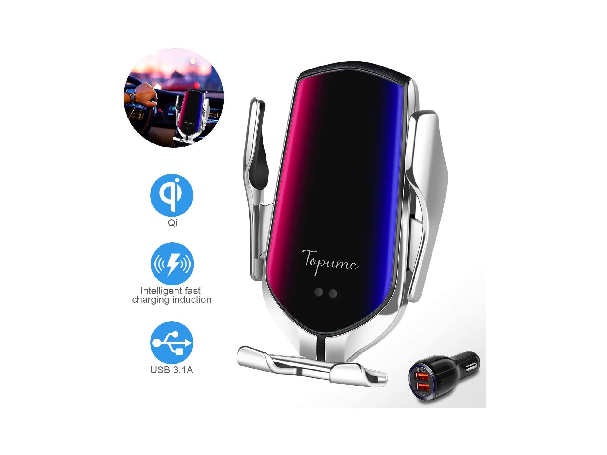 Wireless Charger Car Touch Sensing Automatic Retractable Clip Fast Charging Compatible for iPhone Xs Max/XR/X/8/8Plus, Samsung S9/S8/Note8