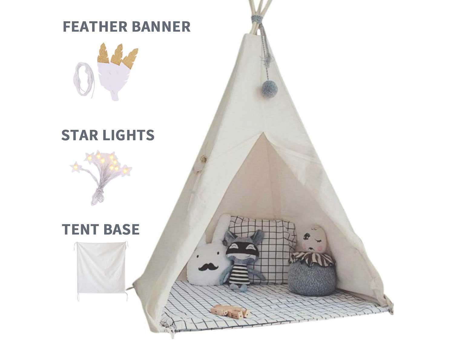 little dove Kids Foldable Teepee Play Tent with Carry Case, Banner, Fairy Lights, Feathers, Floor Mat , Four Ploes Style Raw White Color - New Version