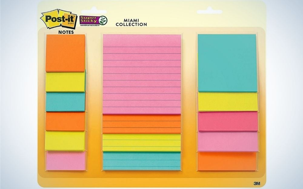 The Post-it Super Sticky Notes, Assorted Sizes, is the best variety pack.