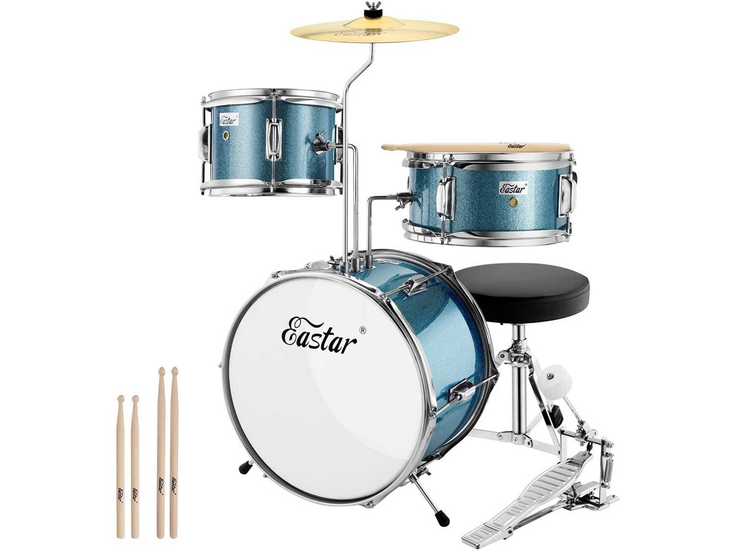 Eastar 14 inch Kids Drum Set Age 5 Real 3 Pieces with Throne, Cymbal, Pedal & Drumsticks, Metallic Sky Blue