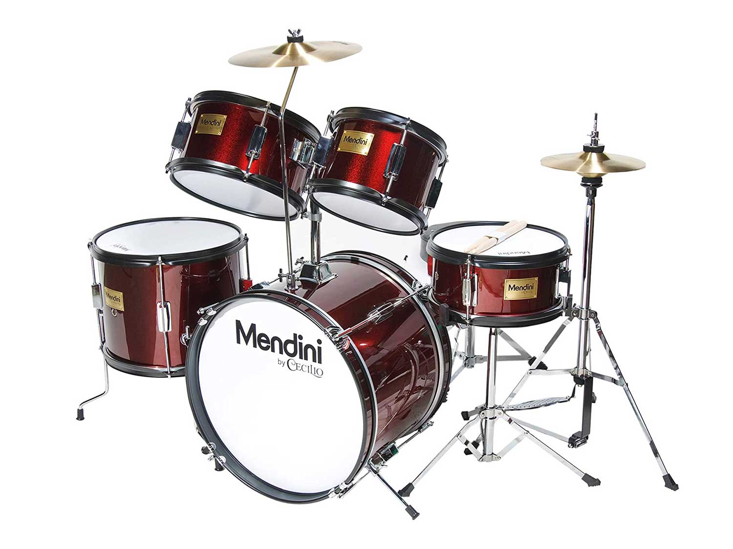 Mendini by Cecilio 16 inch 5-Piece Complete Kids/Junior Drum Set with Adjustable Throne, Cymbal, Pedal & Drumsticks, Metallic Wine Red, MJDS-5-WR