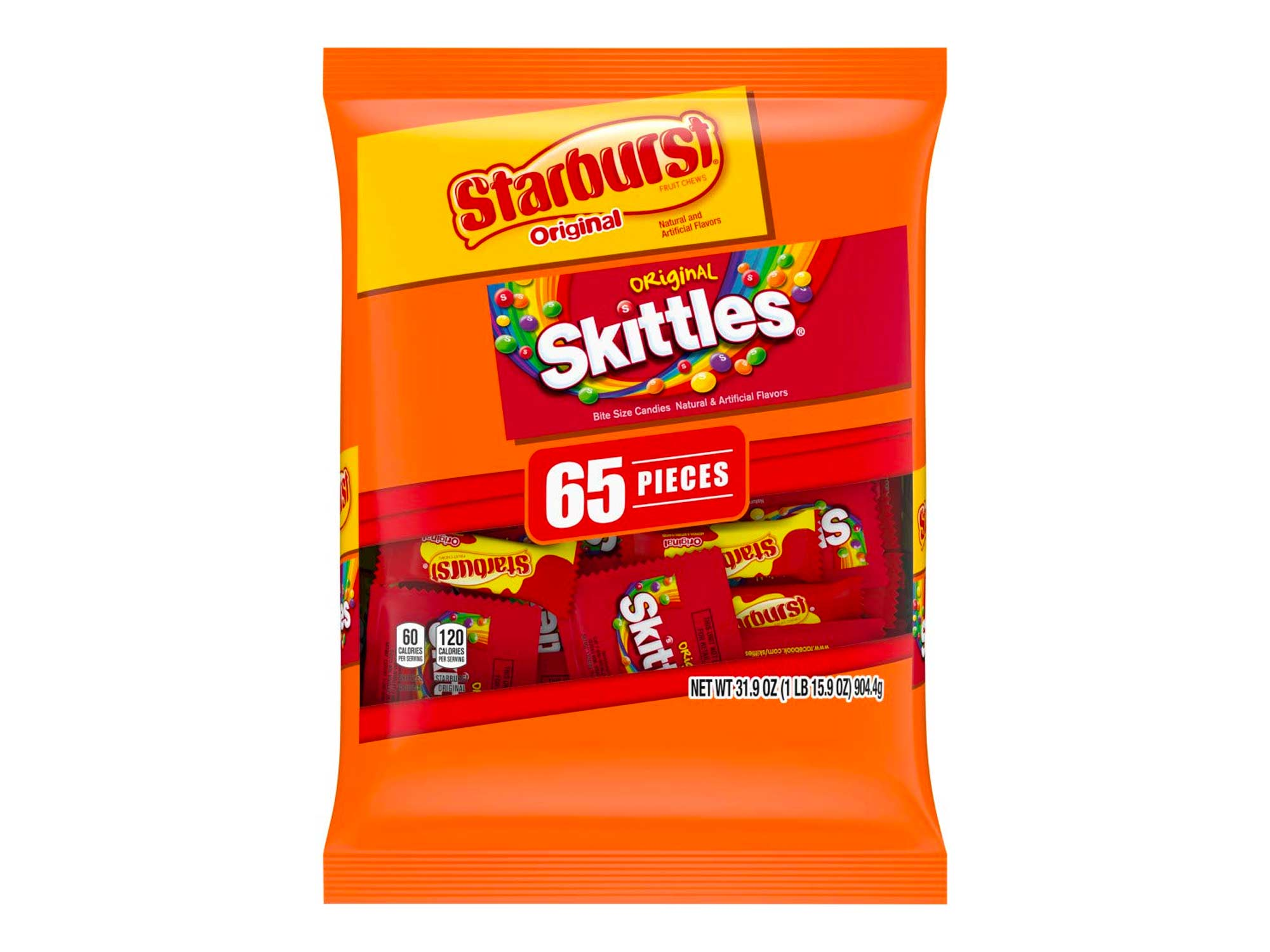 SKITTLES & STARBURST Candy Fun Size Variety Mix 31.9-Ounce Bag, 65 Pieces