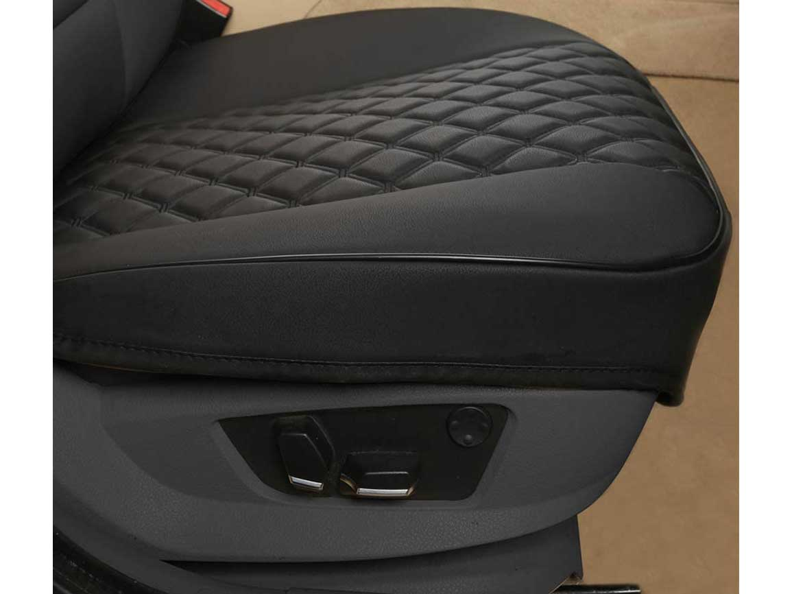 Black Panther 1 Pair PU Car Seat Covers, Front Seat Bottom Protectors Compatible with 90% Vehicles, Diamond Pattern Embroidery, Anti-Slip & Full Wrapping Edge, Black