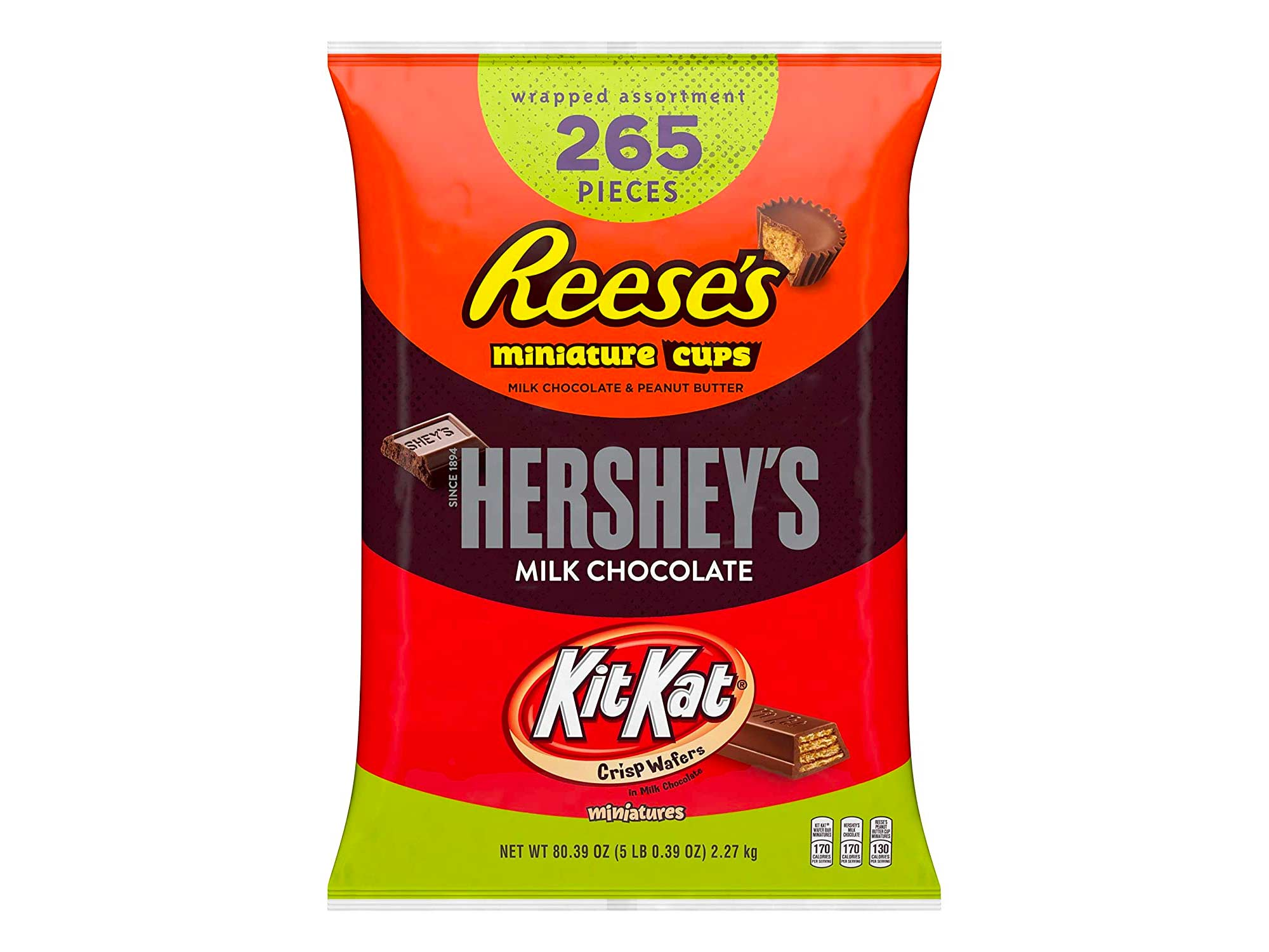 Hershey's, Kit Kat, & Reese's Bulk Halloween Chocolate Candy Variety Pack, Ships With Cool Packs, 5 Pounds, Fun Size, 265 Pieces