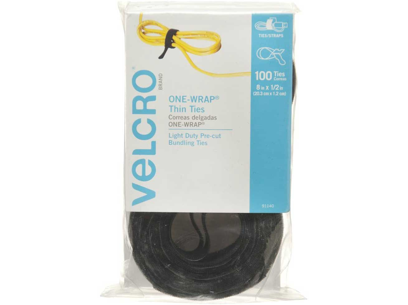 VELCRO Brand ONE-WRAP Cable Ties | 100Pk | 8 x 1/2