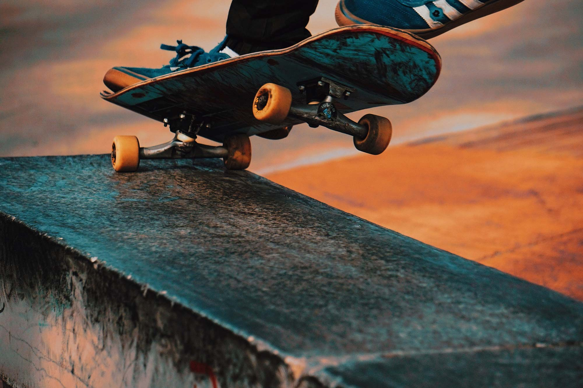 Close up of someone skateboarding