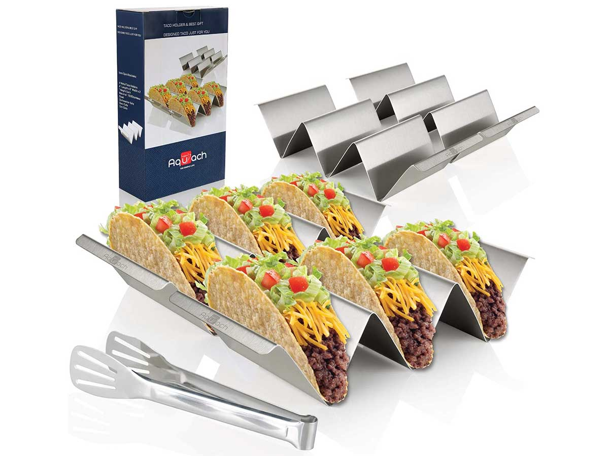 Taco Holder Stands, Set of 4 - Stainless Steel Taco Tray with Built-in Handle, Bonus Stainless Steel Clip - 4'' x 8'' Safe for Oven, Dishwasher,Gift-ready Package for Party and Home Enjoying Time