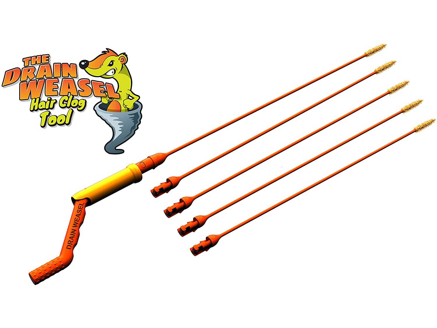 FlexiSnake Drain Weasel Sink Snake - Drain Clog Remover Kit Includes Rotating Handle and 5 Micro-Hook Refill Wands - Thin, Flexible and Easy to Use - Safe for Most Drains and Grates - Made in the USA