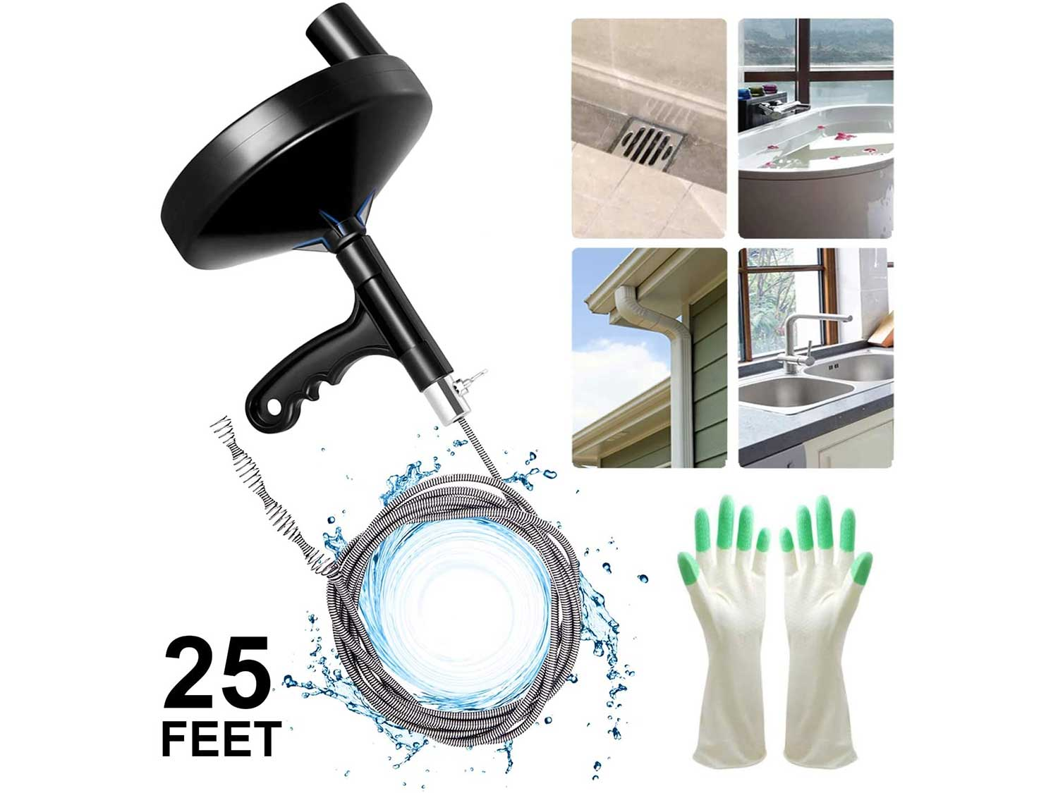 Drain Auger 25 Foot, Plumbing Snake Drain Auger Sink Auger Hair Clog Remover, Heavy Duty Pipe Snake for Bathtub Drain, Bathroom Sink, Kitchen and Shower, Snake Drain Cleaner Comes with Gloves