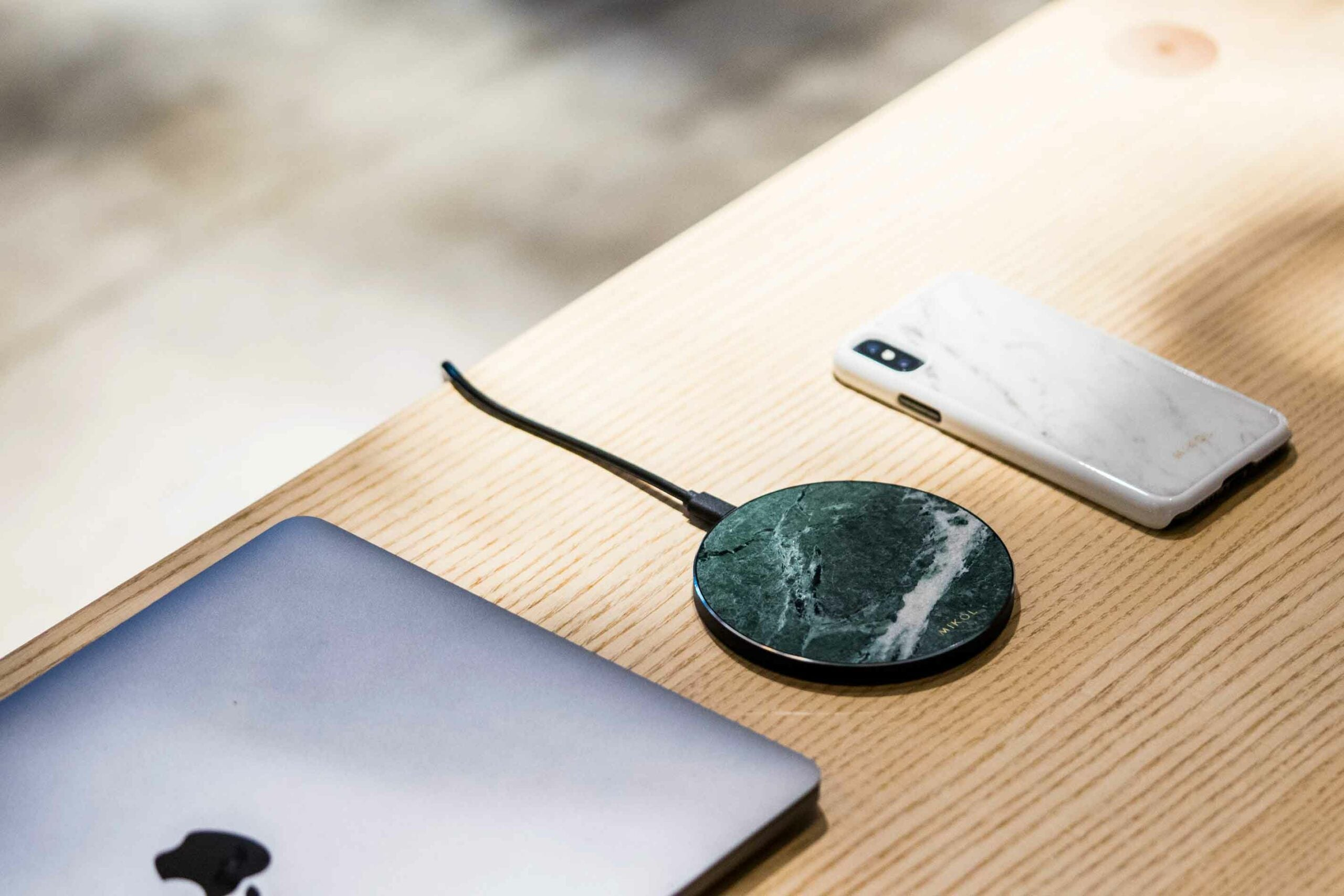 Wireless chargers on a desk