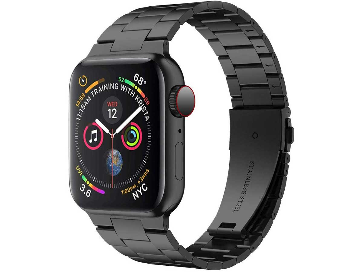 iiteeology Compatible with Apple Watch Band 44mm 42mm, Upgraded Version Solid Stainless Steel Band Business Replacement iWatch Band Strap for Apple Watch Series 5/4/3/2/1 - Black