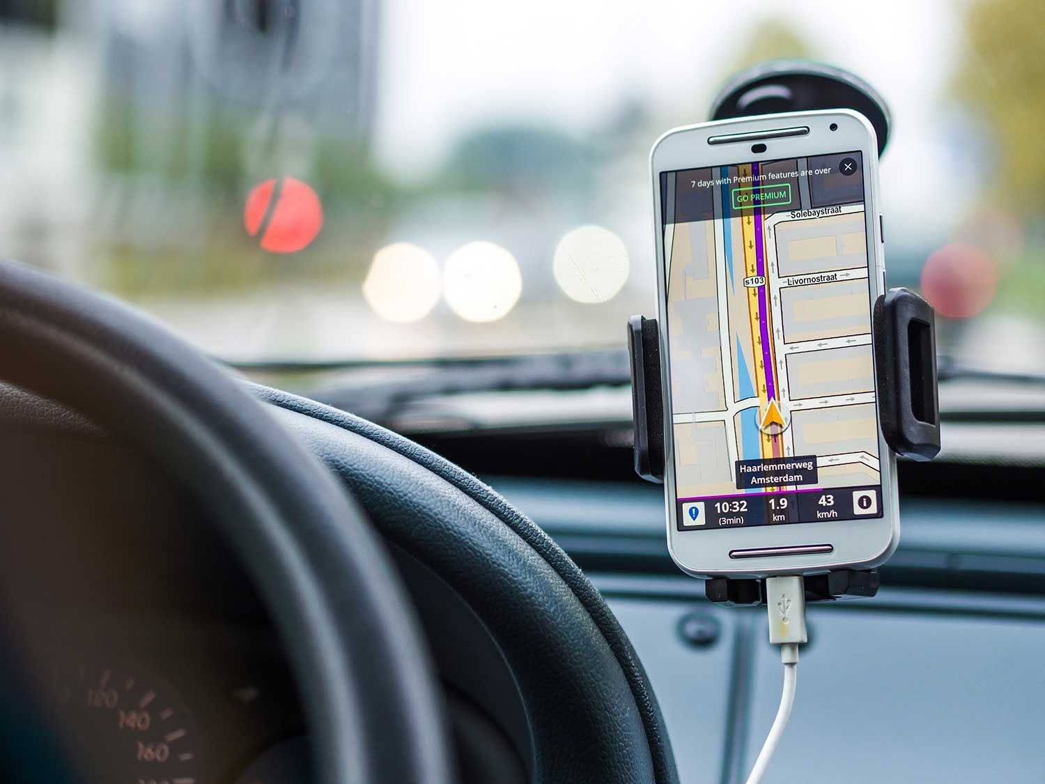 phone mounted in car for navigation