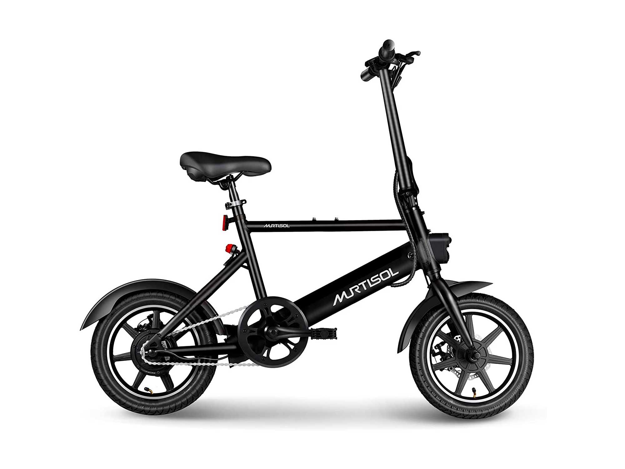Murtisol Electric Bicycles Aluminum Adult Ebike 36V 250W, 6AH Lithium Battery, Dual Disc Brakes, 3 Digital Adjustable Speed, Hidden Battery Design, Foldable Handle
