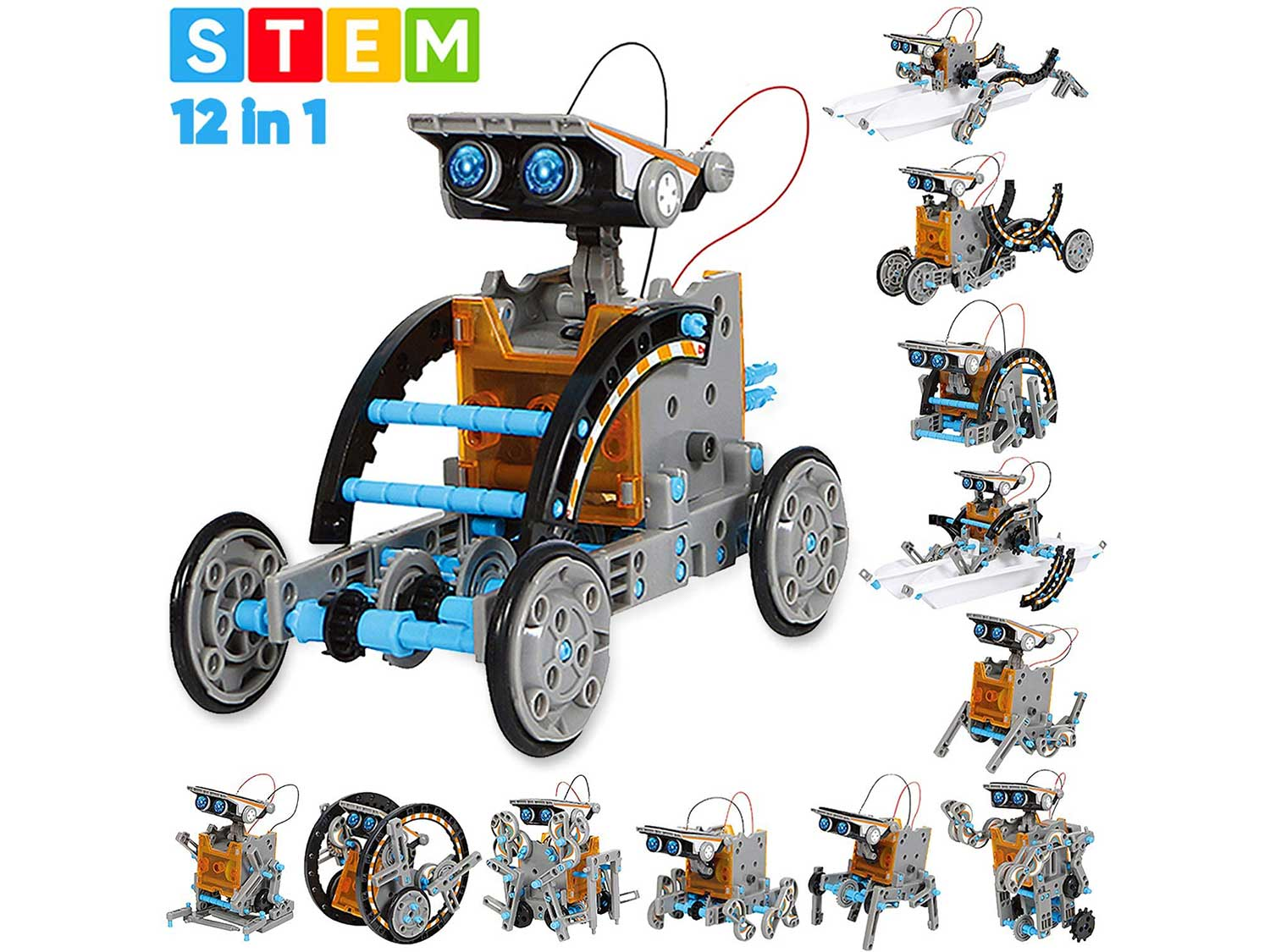 Sillbird STEM 12-in-1 Education Solar Robot Toys -190 Pieces DIY Building Science Experiment Kit for Kids Aged 8-10 and Older,Solar Powered by The Sun