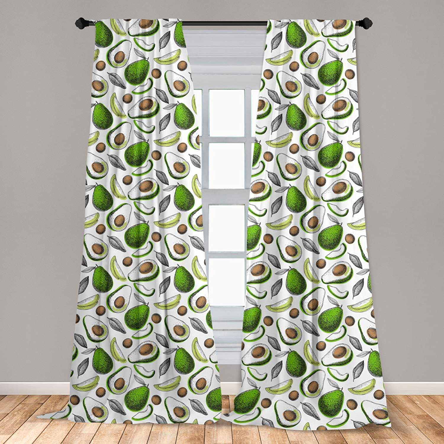 2 Panel Curtain Set, Organic Avocado Leaves