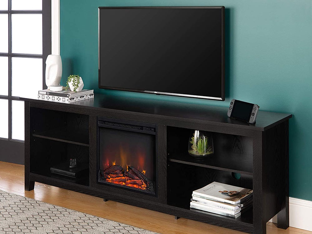 Walker Edison Furniture Company Minimal Farmhouse Wood Fireplace Universal Stand for TV's up to 80