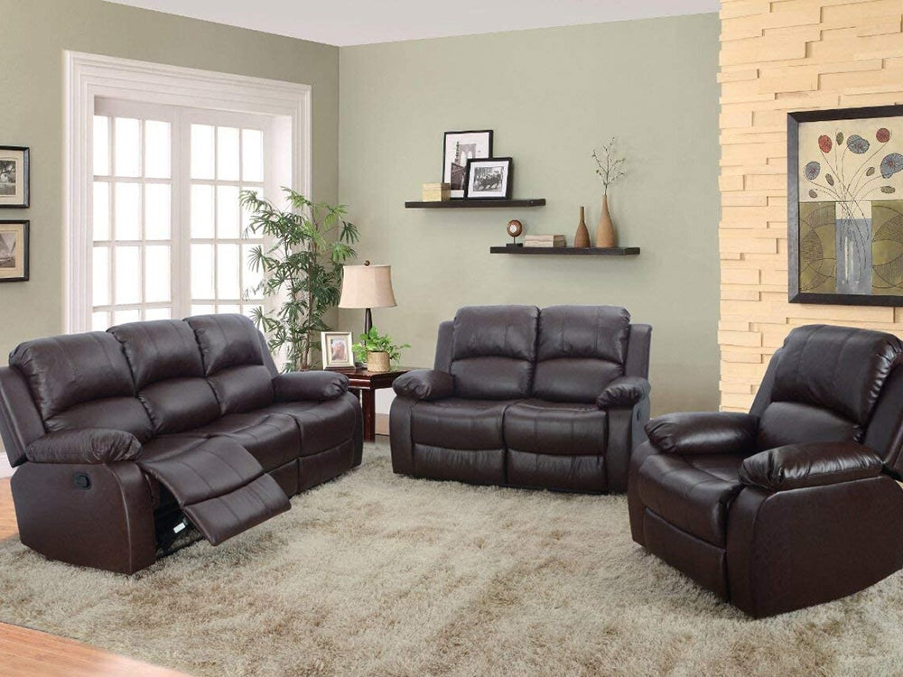 Three piece brown leather reclining sofas