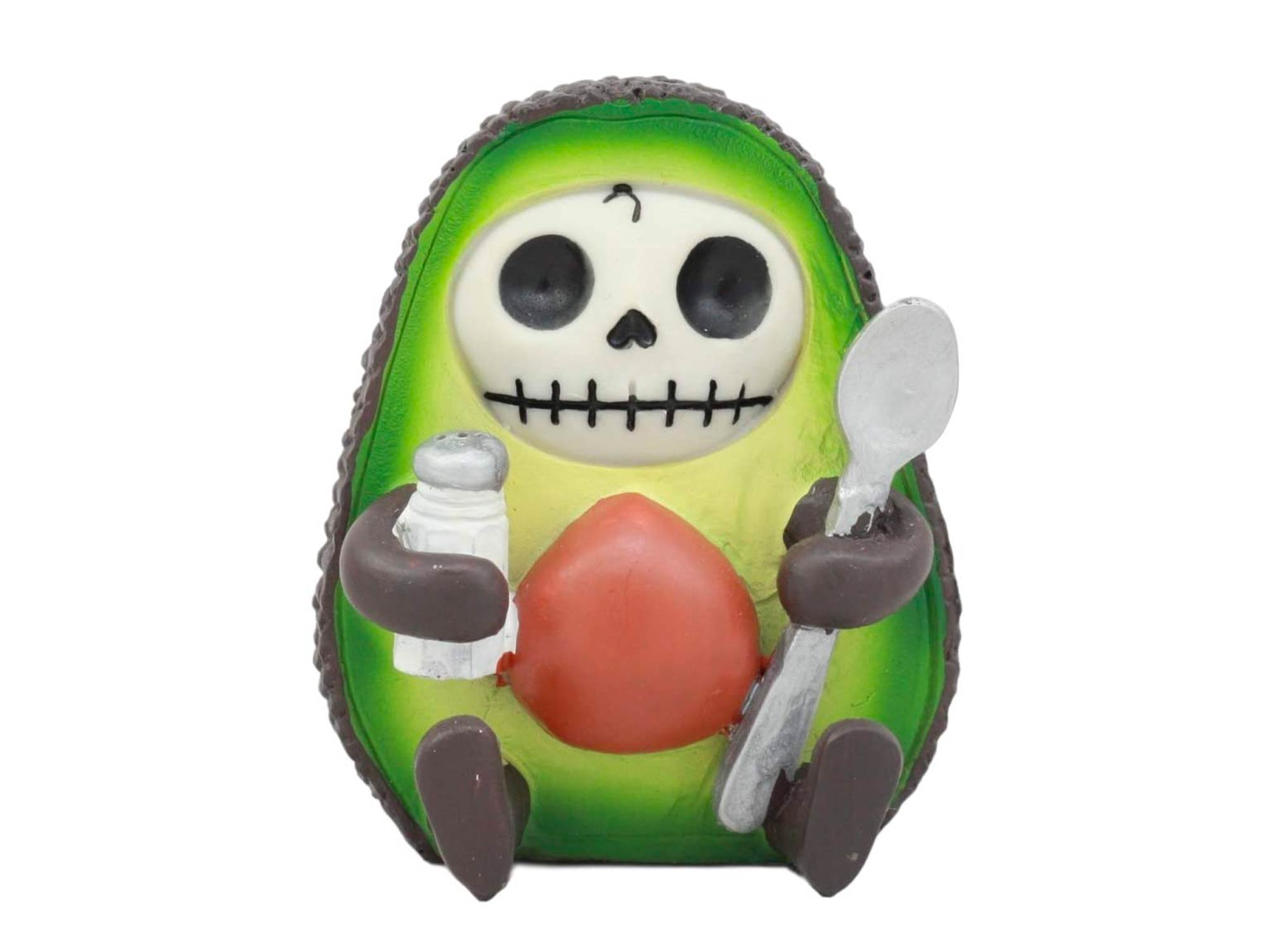 Ebros Gourmet Furrybones HASS Avocado Figurine Small 2.75 Inch Furry Bones Skeleton Decor Statue