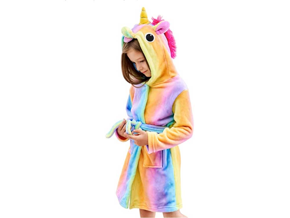 Doctor Unicorn Soft Unicorn Hooded Bathrobe Sleepwear - Unicorn Gifts for Girls