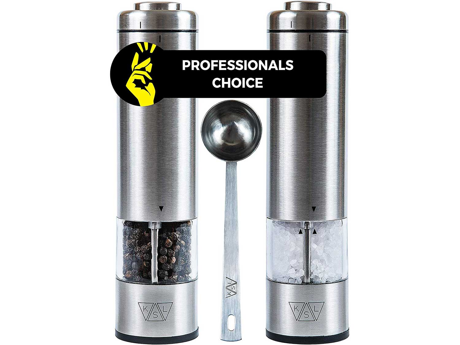 KSL Electric Salt and Pepper Grinder Set (Batteries included) - Automatic Adjustable Shakers - Stainless Steel Powered Spice Mills - Battery Operated Kitchen Peppermills w/Light - Housewarming Gift