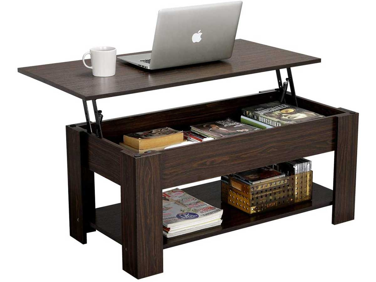 YAHEETECH Modern Lift Top Coffee Table with Hidden Compartment and Storage Shelf - Lift Tabletop for Living Room Reception Room