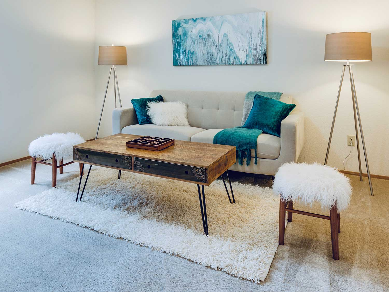 well-placed coffee table in a living room