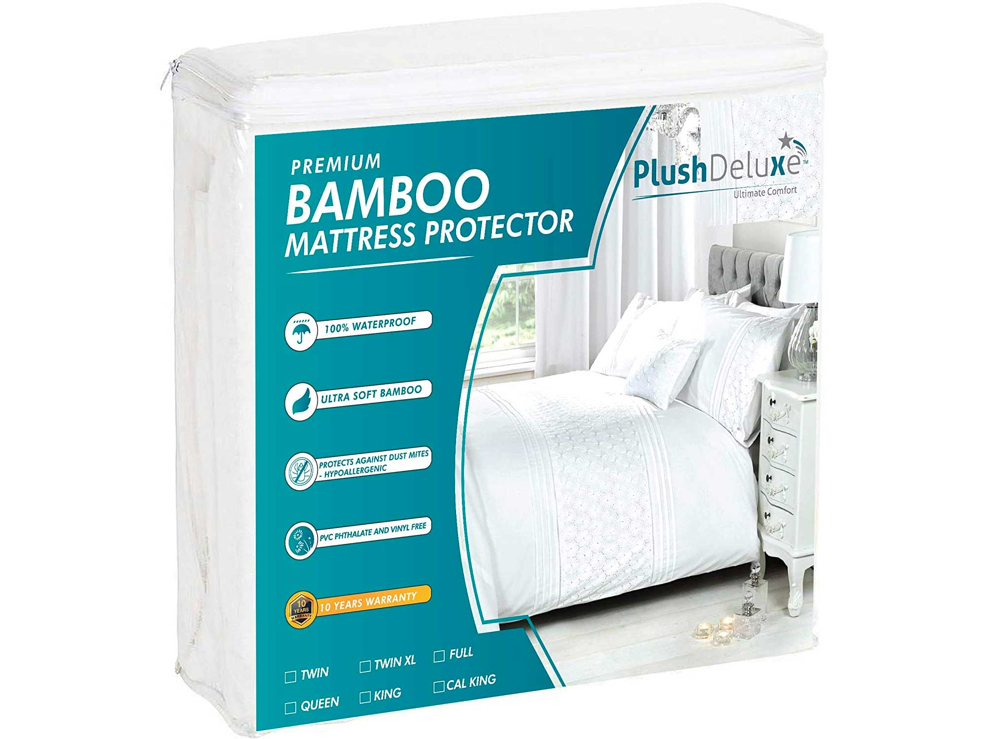 PlushDeluxe Premium Bamboo Mattress Protector – Waterproof, Hypoallergenic & Ultra Soft Breathable Bed Mattress Cover for Maximum Comfort & Protection
