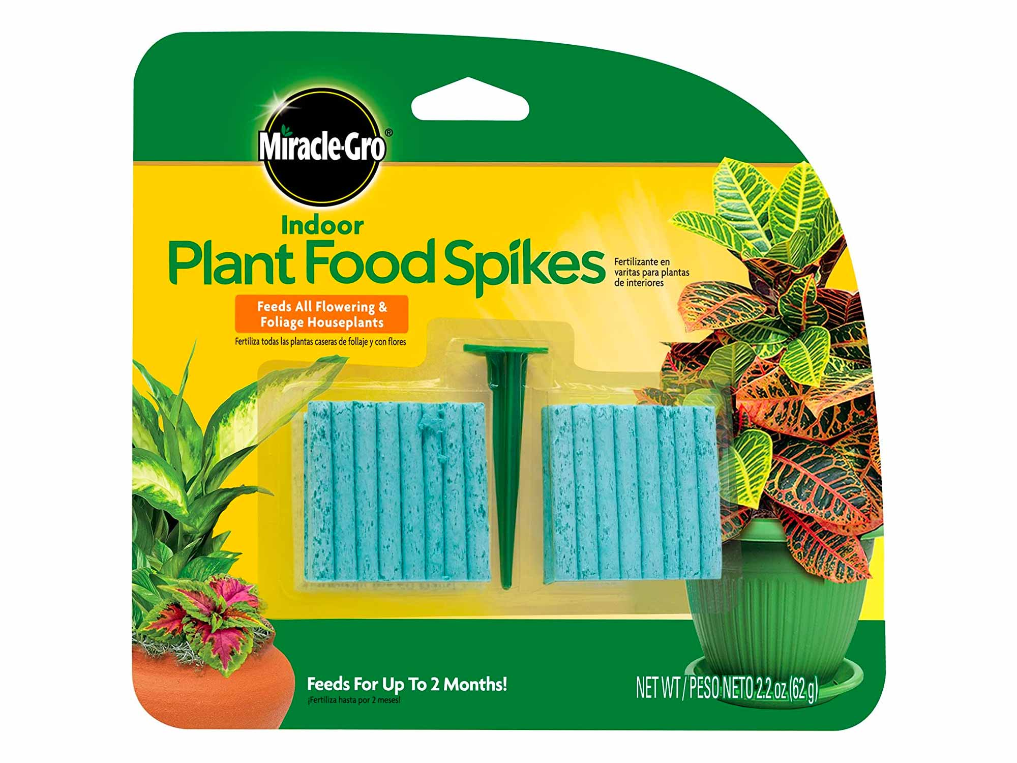 Miracle-Gro Indoor Plant Food Spikes, Includes 48 Spikes - Continuous Feeding for all Flowering and Foliage Houseplants