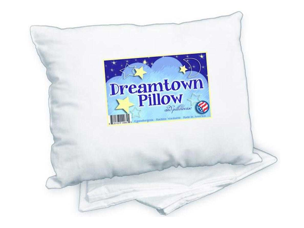 Dreamtown Kids Toddler Pillow with Pillowcase 14x19 White. Chiropractor Recommended. Made in USA. Ideal for Daycare, Baby Cribs, Toddler beds and car Rides.
