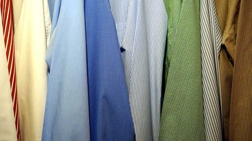 Men's dress shirts wrinkle-free with a clothes steamer.