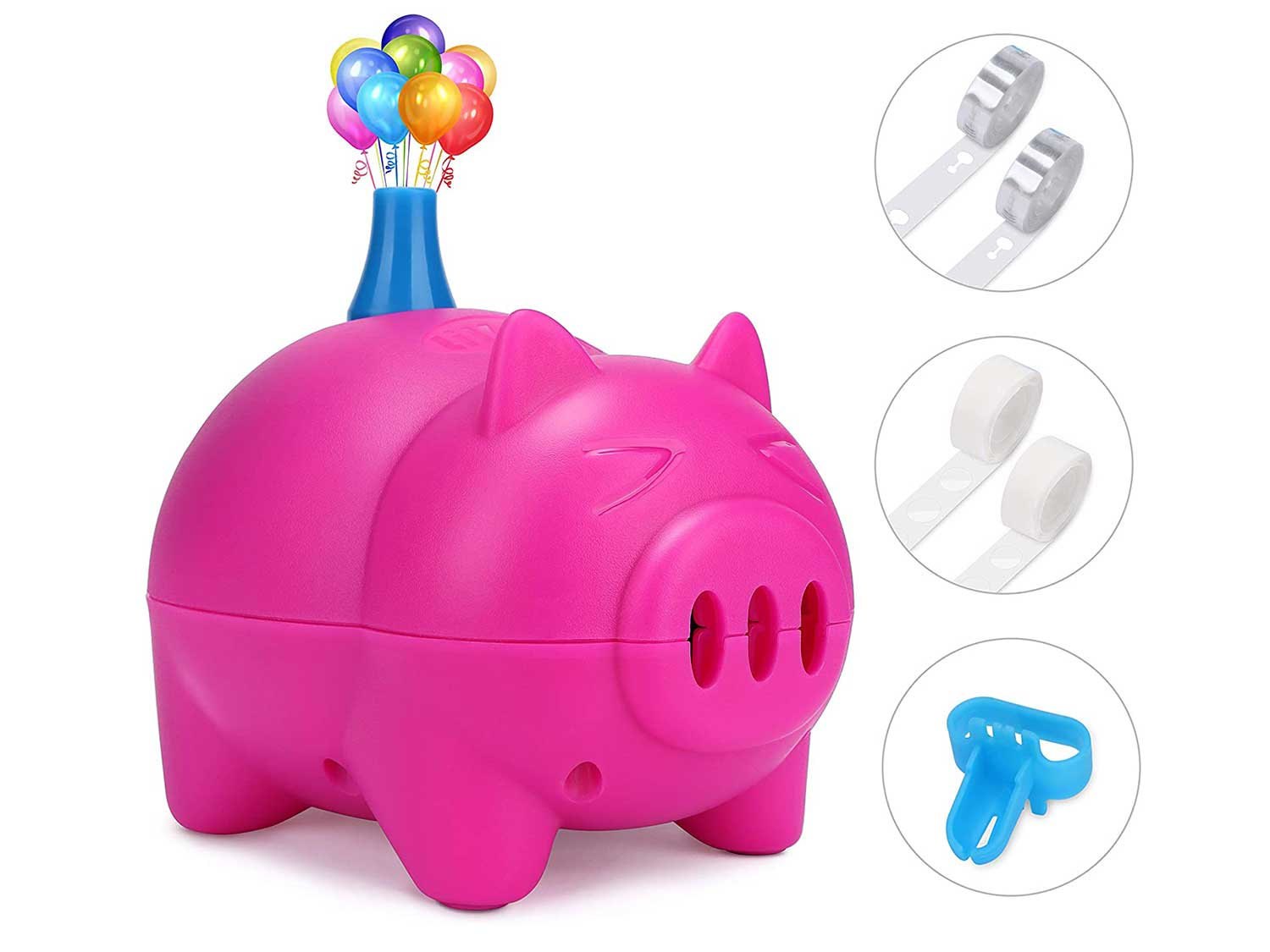 LIKEE Electric Balloon Pump Portable Balloon Inflator Air Blower with Balloon Arch &Garland Kit for Party Decoration(Rose Red)