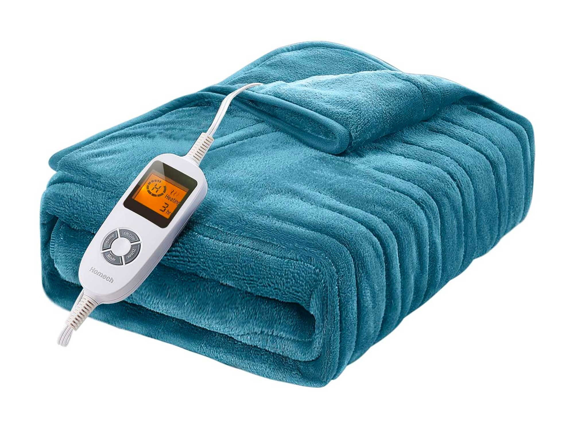 Homech Electric Heated Blankets, Electric Throws with Double-Layer Flannel, 10 Heating Levels, 3 Hours Auto-Off, Fast Heat & ETL Certification, Home Office Use & Machine Washable