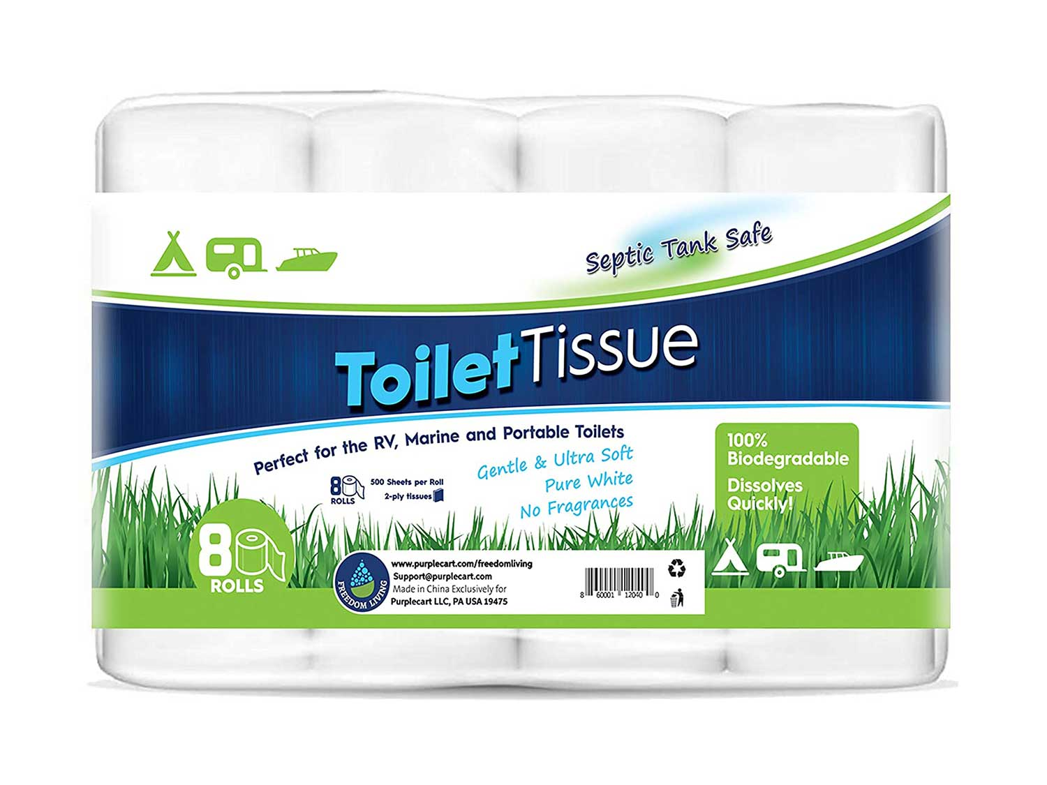 Freedom Living RV Toilet Paper (2-Ply, 8 Rolls, 500 sheets each) - Biodegradable Septic Tank Safe Rapid Dissolve Toilet Tissue for Camping, Marine, RV Holding
