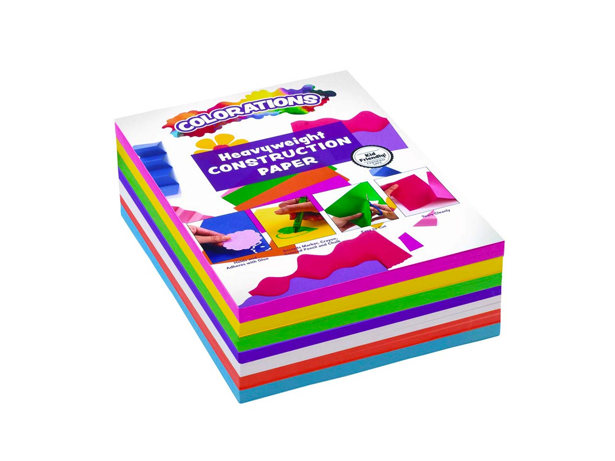 Colorations BRITESTK Bright Construction Paper Smart Pack Multicolor Variety Pack Classroom Supplies for Kids