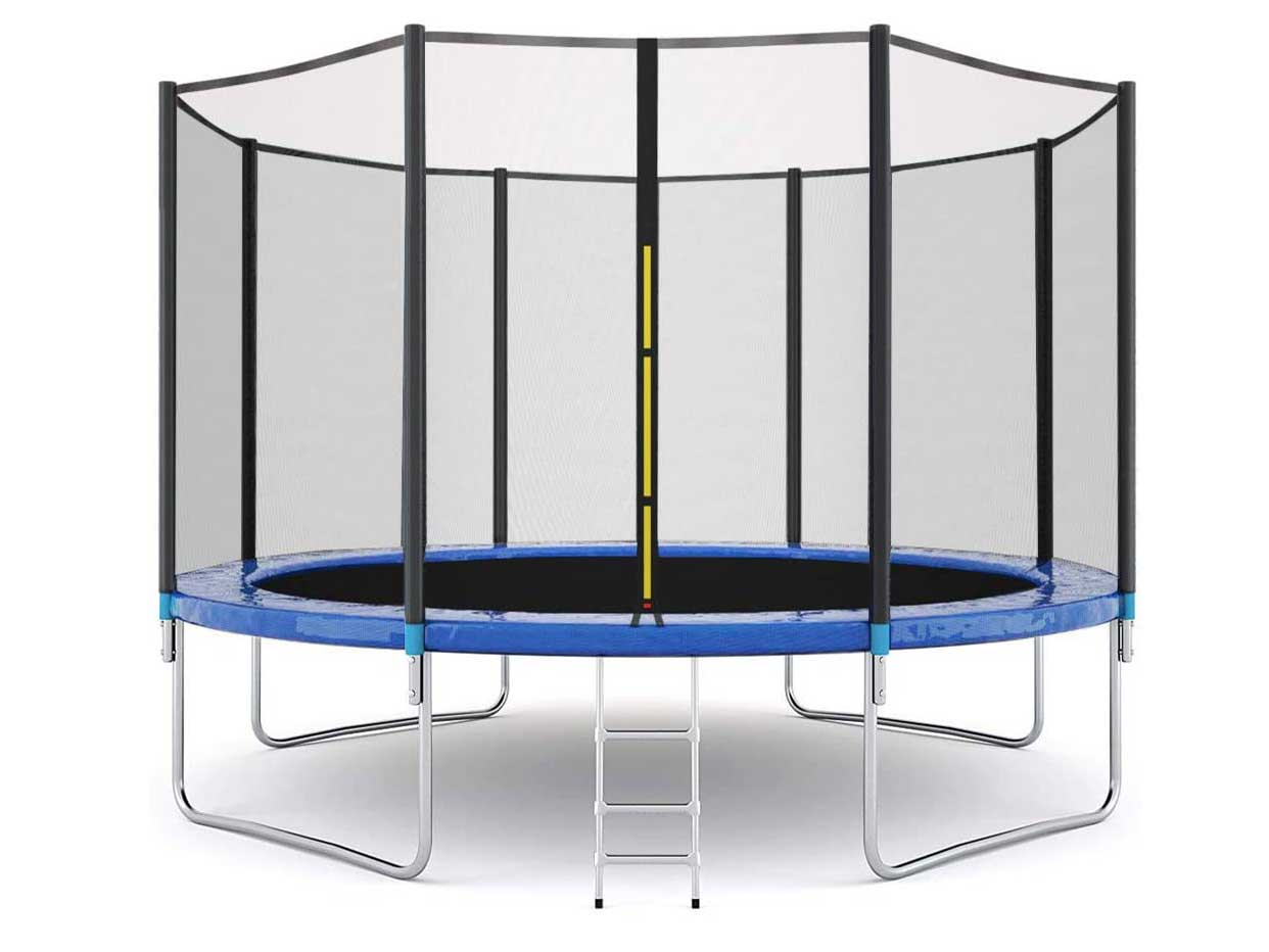 Yalasga 12 ft 10 ft Trampoline Round Jumping Table Outdoor Trampoline with Safety Enclosure Net Sping Pad Combo Bounding Bed Trampoline Fitness Equipment for Adult Kids