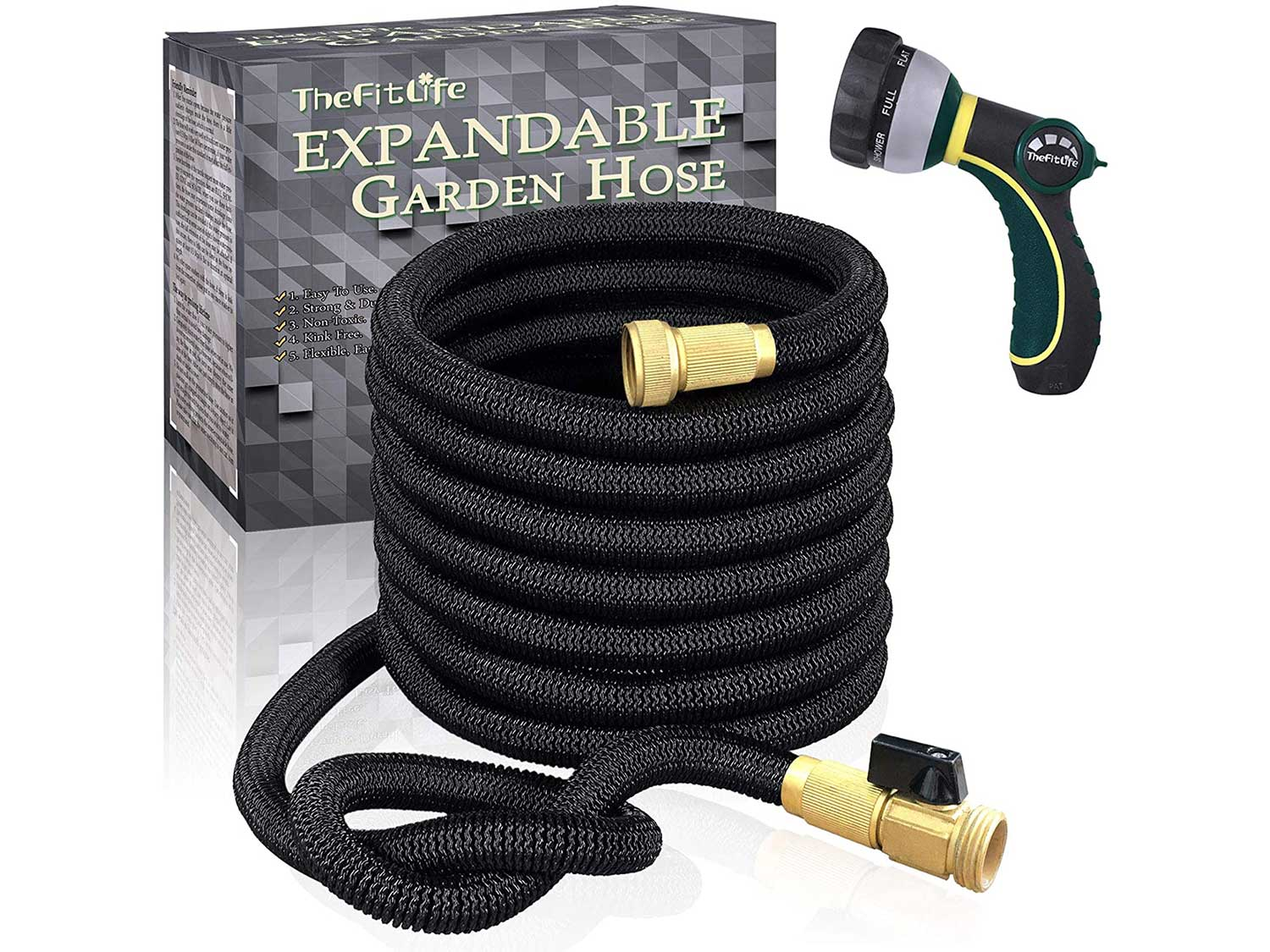 TheFitLife Flexible and Expandable Garden Hose - Strongest Triple Latex Core with 3/4