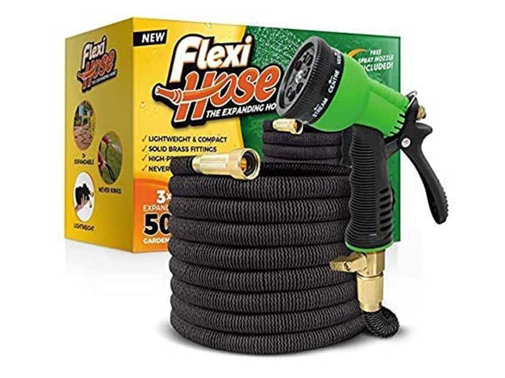 Flexi Hose & 8 Function Nozzle, 50 FT Lightweight Expandable Garden Hose   No-Kink Flexibility - Extra Strength with 3/4 Inch Solid Brass Fittings & Double Latex Core   Rot, Crack, Leak Resistant