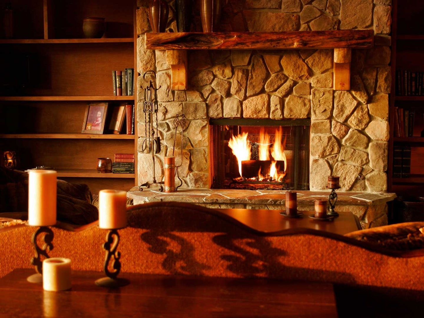 Fireplace with accessories for warm home.