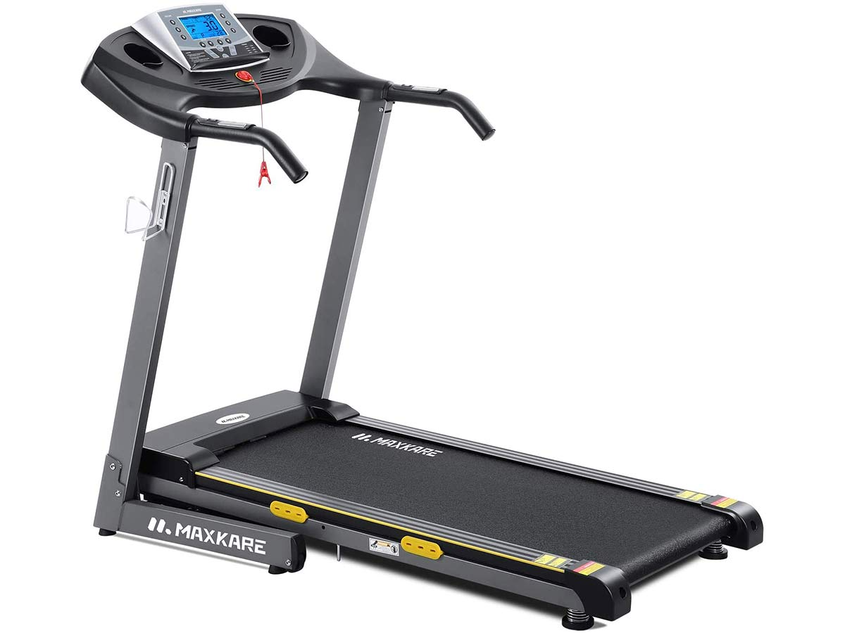 MaxKare Electric Folding Treadmill Auto Incline Running Machine 2.5HP Power 8.5MHP Speed 12-Level Adjustment with 15 Pre-Set Training Programs Large LCD Display Cup Holder for Home Use