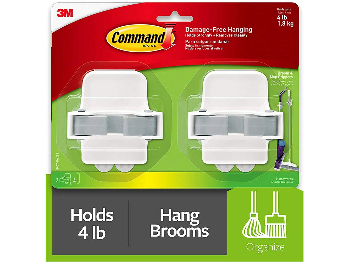 Command Broom & Mop Grippers, Multi-Use Gripper, Holds up to 4 lbs, 2-Pack