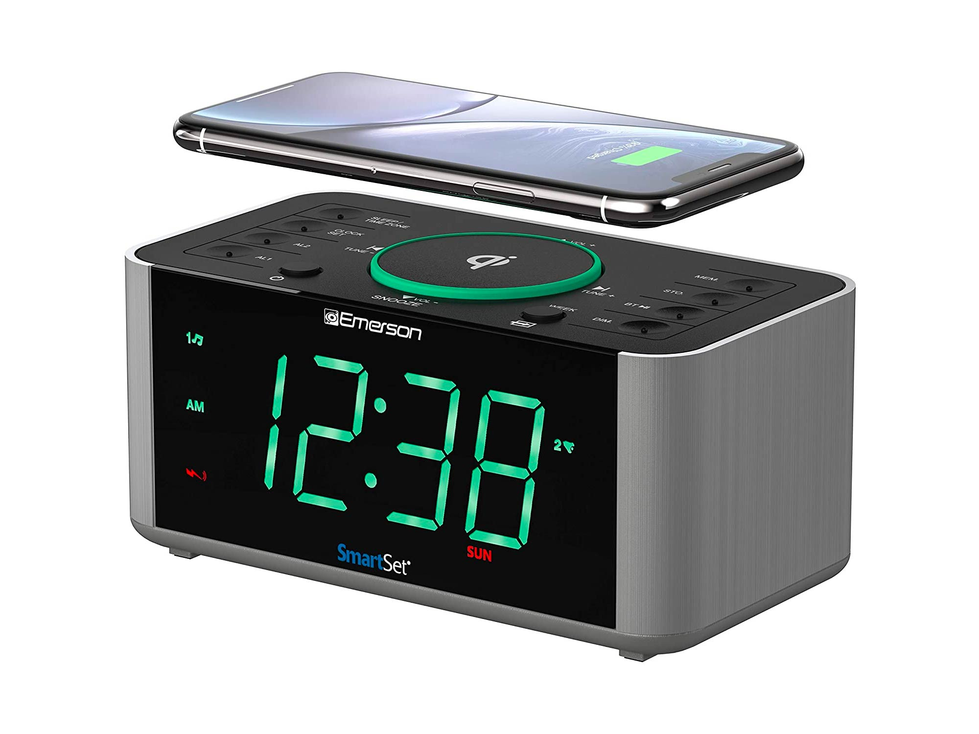 Emerson Alarm Clock Radio and QI Wireless Phone Charger with Bluetooth, Compatible with iPhone XS Max/XR/XS/X/8/Plus, 10W Galaxy S10/Plus/S10E/S9, All Qi Compatible Phones