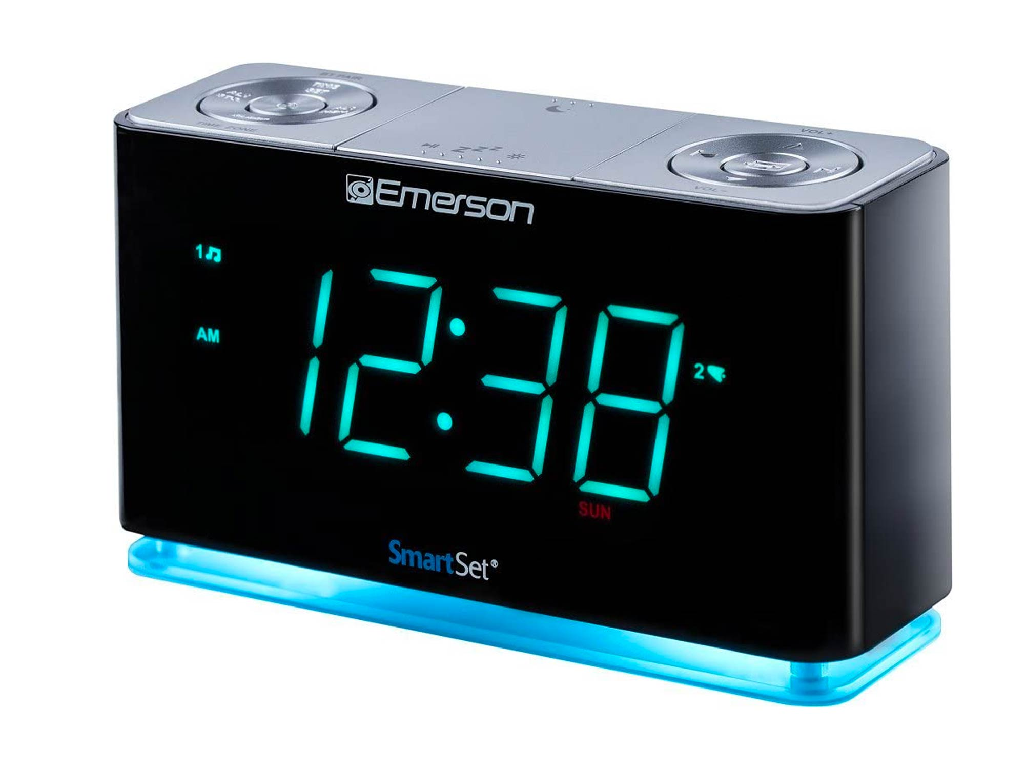Emerson SmartSet Alarm Clock Radio with Bluetooth Speaker, Charging Station/Phone Chargers with USB port for iPhone/iPad/iPod/Android and Tablets
