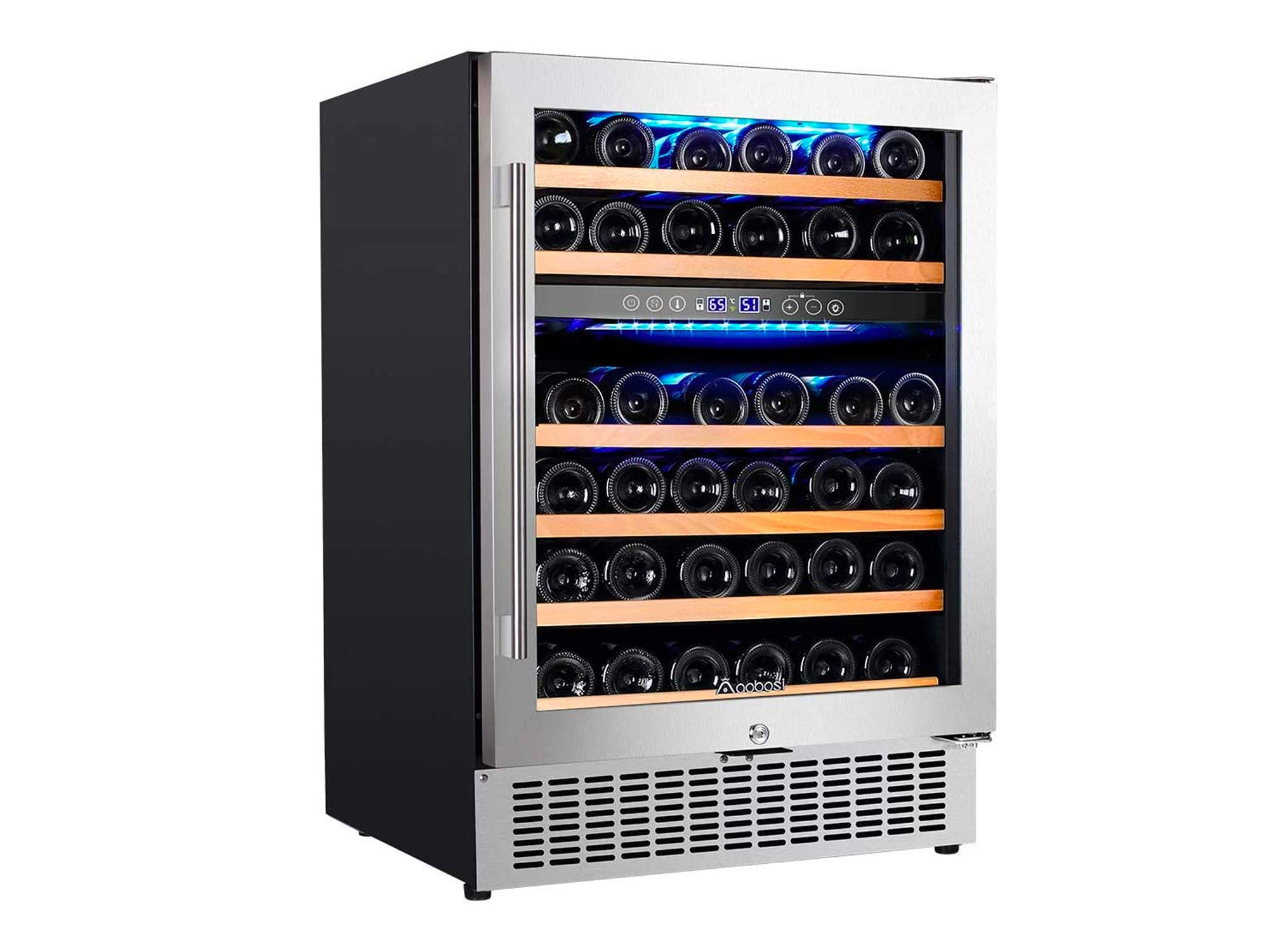 Aobosi 24 Inch Dual Zone Wine Cooler 46 Bottle Freestanding and Built in Wine Refrigerator with Advanced Cooling System, Quiet Operation, Blue Interior Light