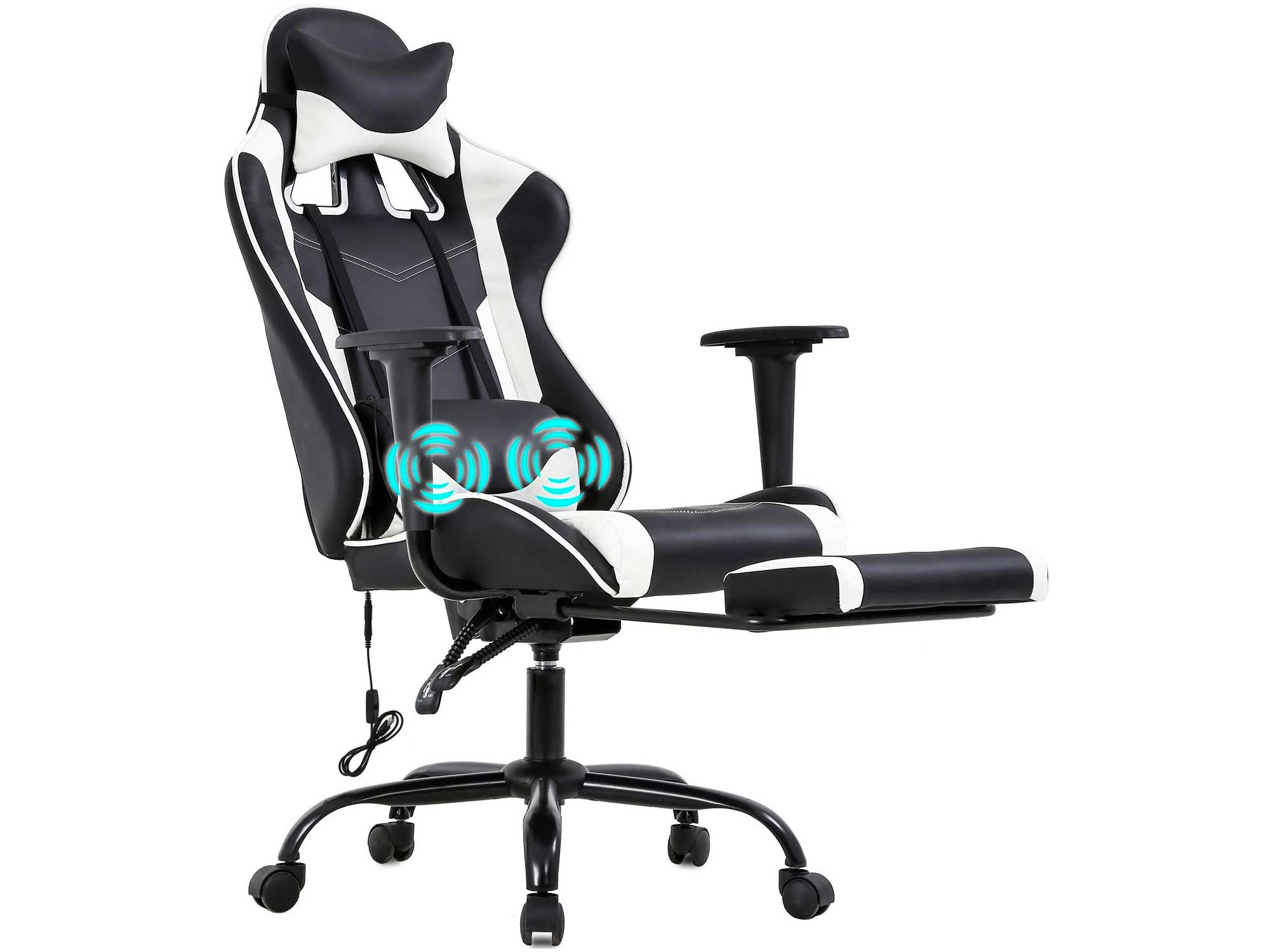 PC Gaming Chair Racing Office Chair Ergonomic Desk Chair Massage PU Leather Recliner Computer Chair with Lumbar Support Headrest Armrest Footrest Rolling Swivel Task Chair for Adults