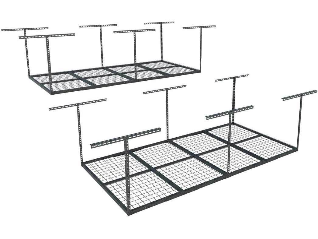 FLEXIMOUNTS 2-Piece Overhead Garage Storage Rack Set Adjustable Ceiling Storage Racks, 96