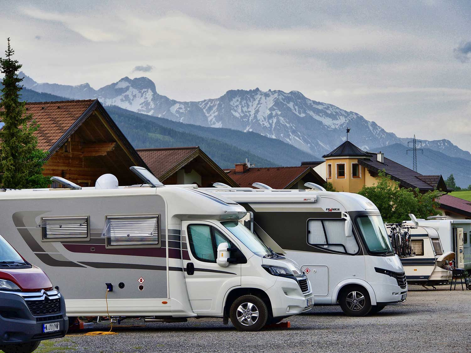 RV in mountains.